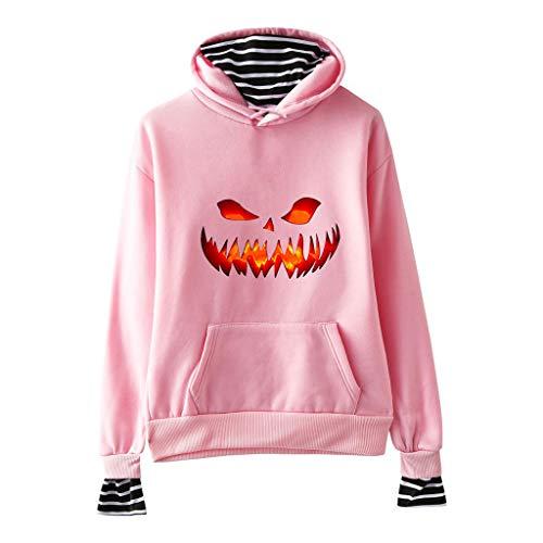 Kostüm Maske Basketball - TEFIIR Halloween Sweatshirt für Damen,Kürbis Brief Drucken Pullover Lose Streifenheftung Hoodies Herbst- und Winter Sweaters für Freizeit, Dating und Urlaub