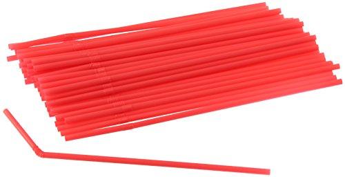 khalme, bunte Strohhalme aus Kunststoff, Trinkröhrchen mit knickbarem Hals (Farbe: Rot, Grün, Lila - nicht frei wählbar), Menge: 50 Stück ()