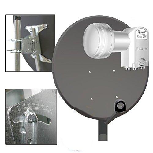 PremiumX Satellitenschüssel SAT Anlage DIGITALE Antenne 100cm in Anthrazit aus Alu Aluminium + LNB Quad Opticum 0,1Typ für HDTV HD UHD 4K