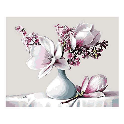 KeyYouNi Malen Nach Zahlen Kit DIY Ölgemälde auf Leinwand mit Acryl Farben für Erwachsene Wooden Framed with Color Box Magnolia Flowers Magnolia Box
