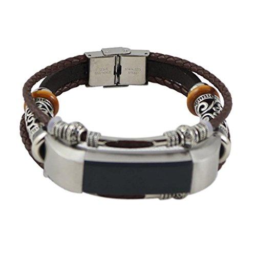 (Für Fitbit Alta Fitbit Alta HR,Hunpta Ersatz Leder Armband Band Armband (Kaffee F))