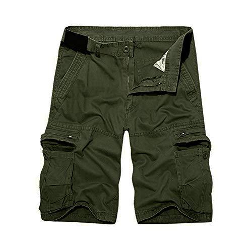 Herrbar Herren Cargo Shorts Baumwolle Bermuda Vintage Casual Kurz Hose (Army grün, W33) -