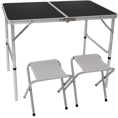 AMANKA Alu Campingtisch mit 2 Stühlen Klapptisch 90x60cm höhenverstellbar Dunkel Grau