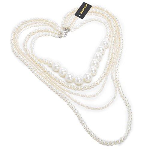 Jerollin Moda Mš²ltiples capas Strand Cadena Blanco Perla Granos de Cluster Largo Gargantilla collar With Largo 96cm Cadena CapaJoyeršªa