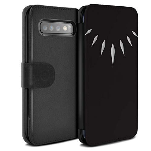eSwish PU-Leder Hülle/Case/Tasche/Cover für Samsung Galaxy S10 / T'Challa Klauenhalskette Muster/Schwarzer Panther Inspiriert Kollektion -