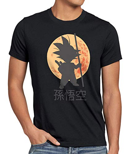 style3 Goku Dragon Moonlight Herren Anime T-Shirt Ball Mond Gohan Jung Dojo Son Drache Young, Größe:XXL, Farbe:Schwarz (Dragon Ball Z T Shirt Kostüm)