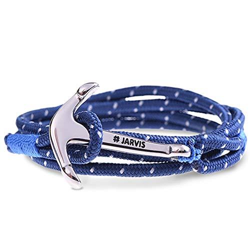 Captain Jarvis Anker Armband für Männer & Frauen - maritimes Ankerarmband inkl. Beutel Geschenkverpackung - Model Capetown in blau silber (Für Männer Anker Armband)