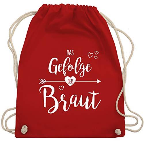 JGA Junggesellinnenabschied - Das Gefolge der Braut - Unisize - Rot - WM110 - Turnbeutel & Gym (Stagette Kostüm)