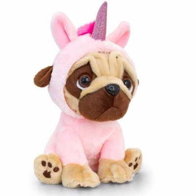 Pugsley in Unicorn Onesie 20cm (Light Pink)