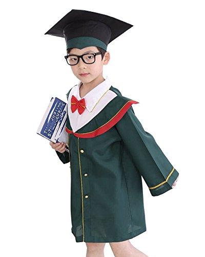oween Cosplay Kostüme Schule Graduation Gowns Bachelor Gown + Bachelor-Kappe Etikette 160(11-12 Jahre) Grün (Elf Halloween Kostüm Kleinkind)