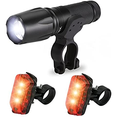 X800 CREE XM-T6 LED lámpara linterna + soporte + batería de luces trasero 2 +18650 negro