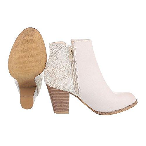 Cowboy- / Westernstiefeletten Damenschuhe Cowboy Stiefel Kubanischer Absatz Western Style Reißverschluss Ital-Design Stiefeletten Beige