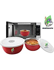 Parasnath Microwave Safe Stanless Steel Euro Lid Bowl - Set Of 3 Bowl (Set-16,18 & 20 Cms)