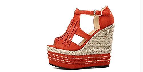 LvYuan Sandali di estate delle donne / tacco ultra sottile sexy / piattaforma impermeabile / intreccio della paglia / tacco a cuneo / inarcamento della nappa di Peep-toe / ufficio & carriera / scarpe  Orange