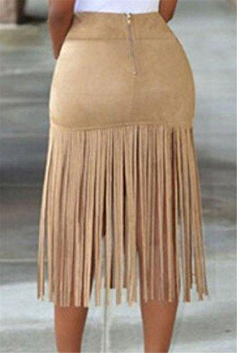 Jupe Mode Feminine Faux Suede Taille Haute Tassel Hem Slim Wrap Robe Courte La chair