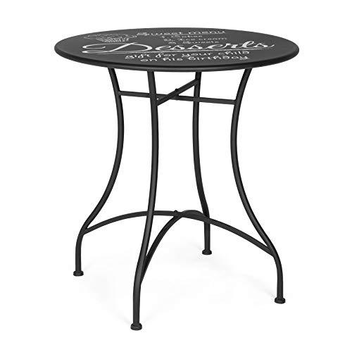 ARREDinITALY Table bistrot Ronde de 70 cm en métal avec Plateau décoré