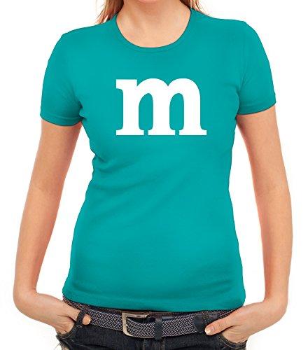 nggesellenabschied Damen T-Shirt Gruppen & Paar Kostüm mit M Aufdruck, Größe: XXL,Karibikblau (Paar Freunden Halloween Kostüme)