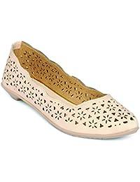 Marc Loire Women's Pink Solid/Perforation Almond Toe Slip On Slip On Ballerina Flats
