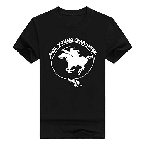 Crazy Horse T-shirt (QHWHTX® Neil Young Crazy Horse Funny Men's Cotton T-Shirt Casual)