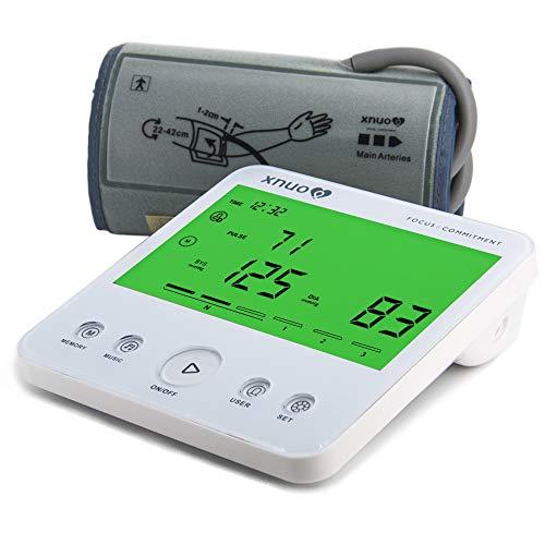 """XNUO C1 Überlegen Oberarm Blutdruckmessgerät 5,8"""" LCD Bildschirm Mit 3 Farbe Hintergrundbeleuchtung Große Manschette 2 Benutzer Modus, Reden Und Hintergrundmusik, Klinische Genauigkeit (Weiß)"""