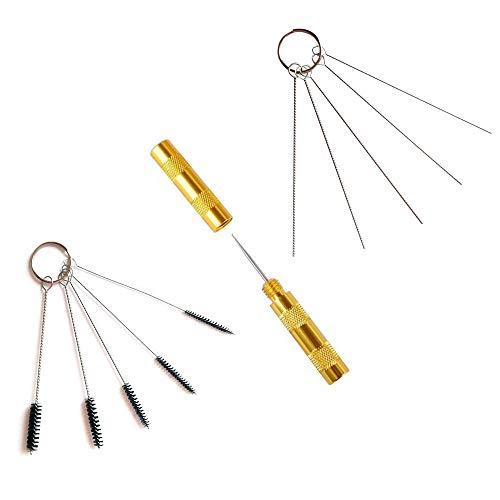 Abest Kit de 3accessoires de rechange pour le nettoyage d'aérographe - brosses et aiguilles en acier inoxydable