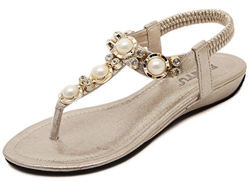 Fortuning's JDS sandali con zeppa moda elegante in rilievo per le donne e le signore Oro