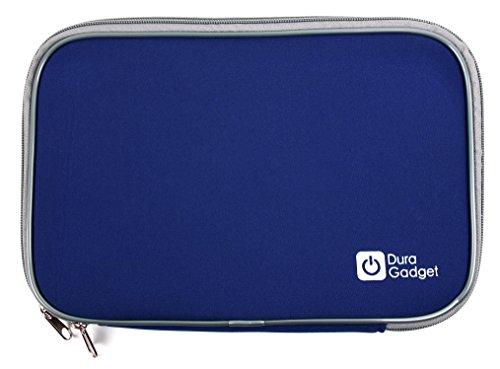 DURAGADGET Klassische Neoprenhülle der Marke (blau, 9 Zoll) für den Lenco DVP-754/Voyager VYCDVD9-BLK tragbaren DVD Player