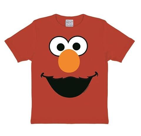 Logoshirt Jungen Hemd Sesame St. Faces-Elmo, Rot, 2-3 Jahre
