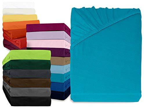 npluseins klassisches Jersey Spannbetttuch - erhältlich in 34 modernen Farben und 6 verschiedenen Größen - 100% Baumwolle, 90-100 x 200 cm, türkis