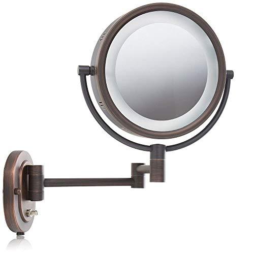 Make-Up-Spiegel, Wandhalterung Mit 5-Facher Vergrößerung Beleuchtete Bronze 8