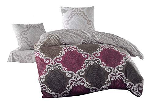 ZIRVEHOME Bettwäsche 200x220 cm, 2 x Kissenbezug 80x80cm CASSA 100% Baumwolle Mit Reißverschluss