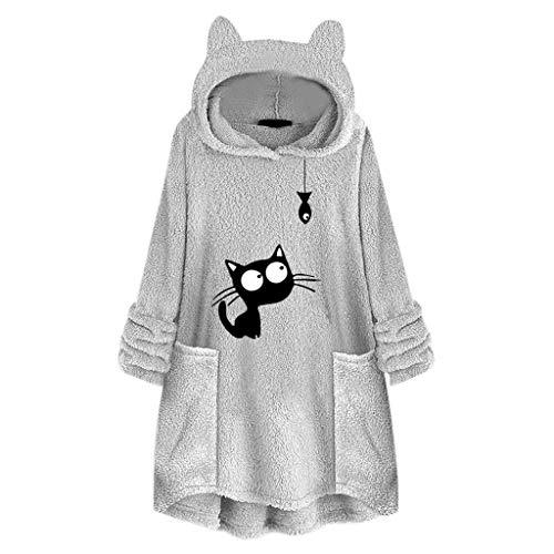 Andouy Damen Kapuzenpullover Winter Warm Ohr Kapuze Kunstpelz Fleece Hoodie Pullover mit Taschen(L.Grau-1)