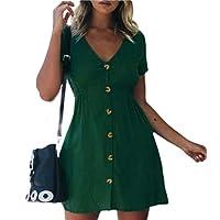 فستان GAGA نسائي بأكمام قصيرة ورقبة على شكل حرف V بأزرار سفلية صغيرة Blackish Green X-Large