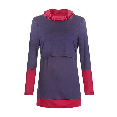 YWLINK Damen Kleidung,Frauen Colorblock Mutterschaft Pflege Wrap Top Langarm Doppelschicht Cap Bluse