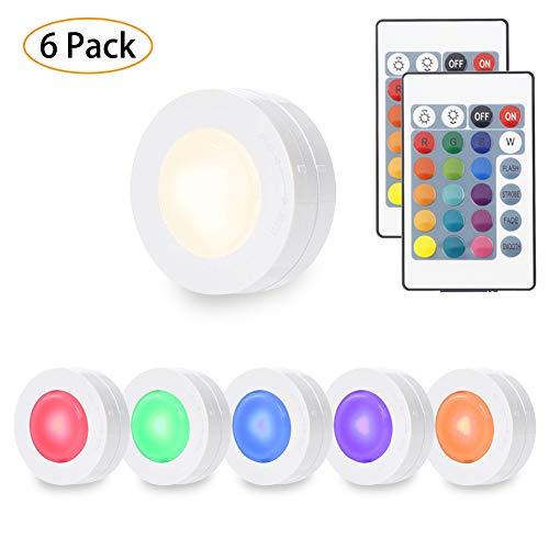Schrankbeleuchtung, Lunsy RGB Schrankbeleuchtung mit Fernbedienung & manuelle Steuerung,LED Nachtlichtdimmbares rundlich für Schränke Küche Schlafzimmer (16 Farben) Puck-kabel