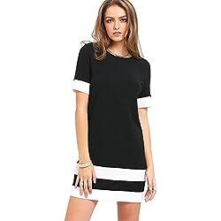 SOLYHUX Vestido Casual Para Mujer, Rayas Mujer vestido para Verano con mangas corta, Mini vestido corto, blanco y negro,L