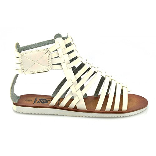Kick Schuhe Gladiator Damen Flache Sandalen Weiß