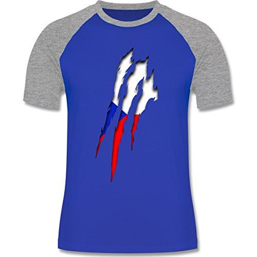 EM 2016 - Frankreich - Tschechien Krallenspuren - zweifarbiges Baseballshirt für Männer Royalblau/Grau meliert
