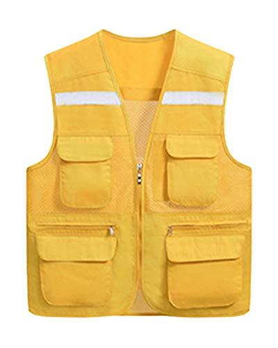 Yonglana uomo gilet di sicurezza ad alta visibilità multi-tasche di sicurezza ad alta visibilitá e banda riflettente strisce giallo 3xl