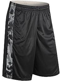 SaiDeng Hombres Camuflaje Suelto Secado Rápido Deportes Shorts Baloncesto Pantalones Negro Gris M