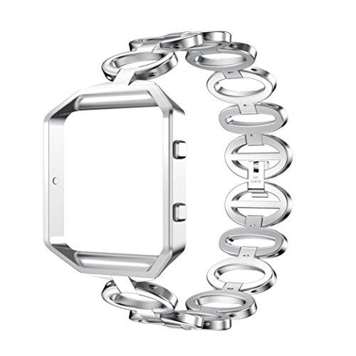 Hunpta Edelstahl Armband Smart Watch Band Strap und Case Cover Compatible für Fitbit Blaze (Silber)
