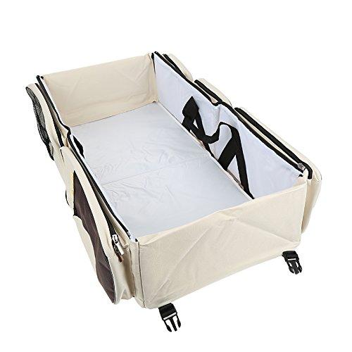 Flyelf 3 in 1 Baby Wickeltaschen mit Schnallen Reise Kinderbett Tasche Wiege 40×40×15 cm (Beige)