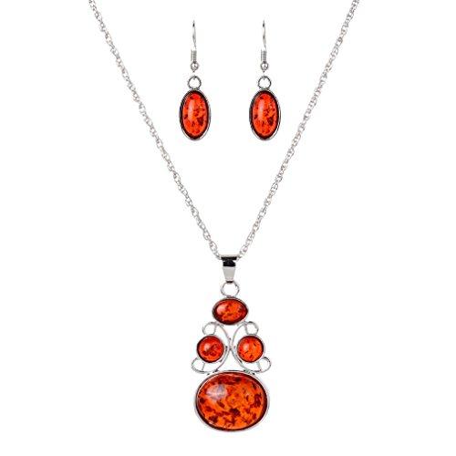 YAZILIND 1 Conjunto de Plata Chapado en Rojo de imitación Conjunto de joyería de ámbar Bastante Pendientes del Collar Colgante