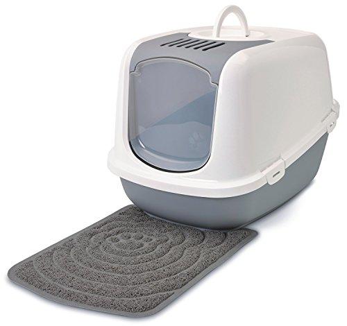 Sparpaket Katzentoilette NESTOR JUMBO weiss-grau für große Katzenrassen inkl. Vorlegematte