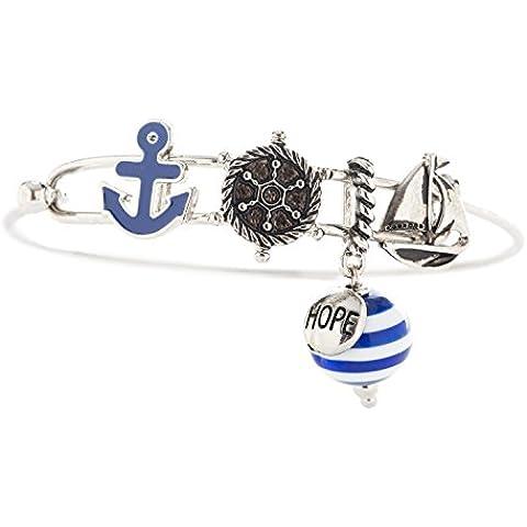 Náutico Ancla de cierre de metal encanto pulsera con, diseño de barcos Boya, color azul marino, color plateado