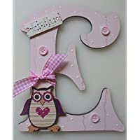 Owl Wooden Letter **ANY LETTER with ANY NAME** Available Personalised Childrens Kids Door Sign Plaque (LIGHT PINK)