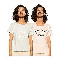 Amazon Brand - Eden & Ivy Women's T-Shirt Regular Fit Top (Pack of 2) (SS19UTSTS02-GP-03_Pink & Grey_X-Large)