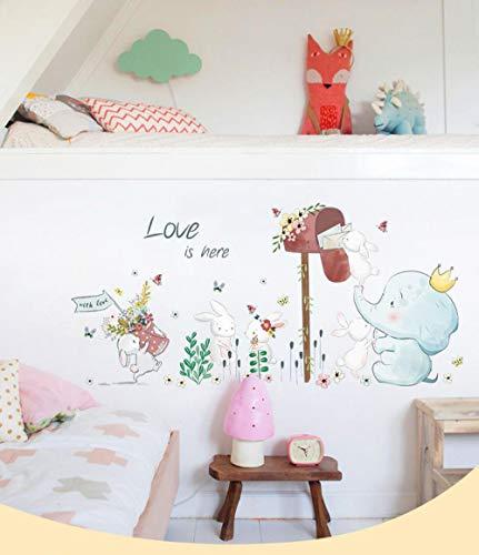 Zbzmm Cartoon Schöne Tiere Kunst Wandaufkleber Wallpaper Für Kinderzimmer Kaninchen Elefant Pvc Für Wände Room Decor (Wallpaper Grenzen Für Mädchen)