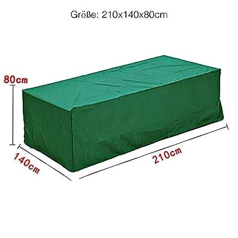 Logei® Housse de protection pour un salon de jardin complet Couverture Meubles de jardin Couverture Étanche Extérieur Anti-Poussière , vert foncé,210 x 140 x 80 cm