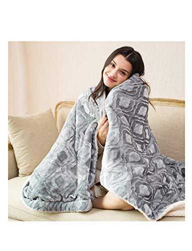 Dfgesrgtesherrt Einzel-Doppel-Heizdecke, doppelseitig erhältlich, Schal Kniedecke, mit Controller, Multi-Color und Multi-Size (Farbe : Gray, größe : 165 * 90cm)